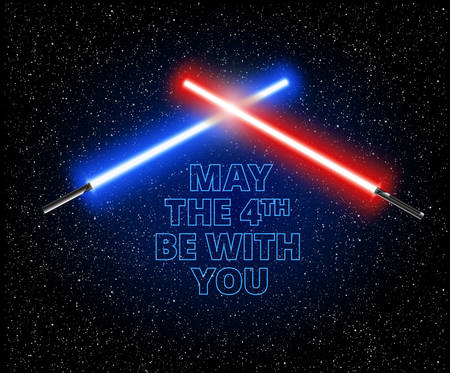 Illustration pour May the 4th be with you illustration with two crossed light swords - vector illustration - image libre de droit