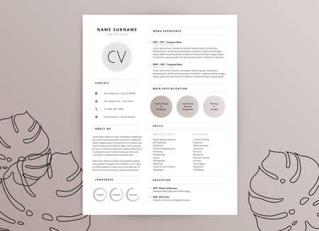 Illustration pour Elegant feminine CV resume template design - image libre de droit