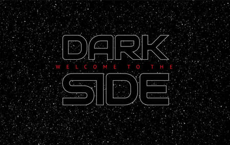Illustration pour Dark side abstract space black background - glowing letters on star sky background - vector illustration  - image libre de droit