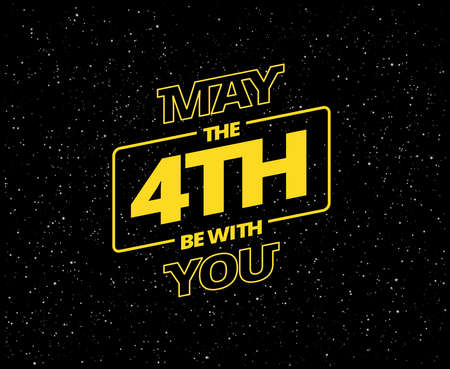 Ilustración de May the 4th be with you - holiday greetings vector illustration - yellow letters in black starry sky - Imagen libre de derechos