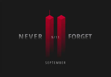 Illustration pour 9/11 vector illustration for Patriot Day USA. Black background with red Twin Towers, Never Forget lettering. USA September 11 Attacks poster - image libre de droit