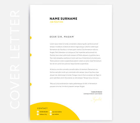 Yellow CV Cover Letter template design - curriculum vitae minimalist cover letter. Write a great cover letter with this stylish minimalist sample! Vector design with yellow circle background