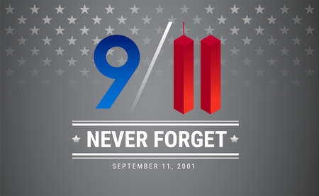 Illustration pour Patriot day poster. September 11. 9 / 11 Memorial Remembrance Day USA illustration. Silver stars vector background - image libre de droit