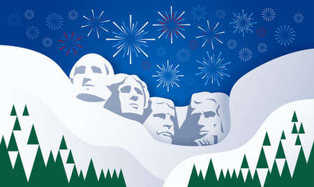 Illustration pour Presidents and fireworks over Mount Rushmore sculpture USA background - vector illustration for Presidents Day, 4th of July, Independence Day - image libre de droit