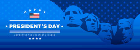 Illustration pour Presidents Day banner blue background vector illustration with lettering Happy President's Day and Rushmore USA presidents - image libre de droit
