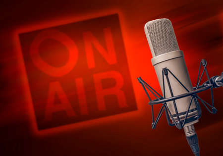 Photo pour professional microphone in radio studio - image libre de droit
