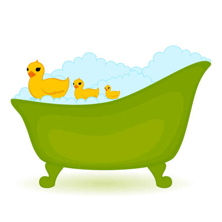 green bath with ducks in isolated on white background