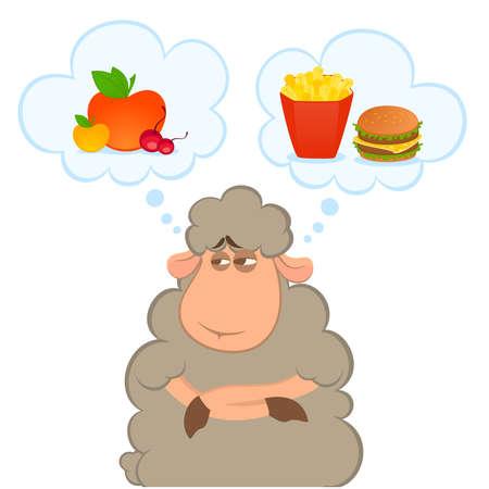 cartoon sheep chooses between a healthy food and harmful fast food