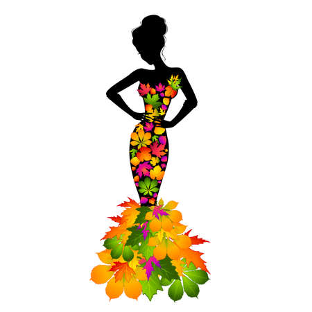 Silhouette of girl in autumnal leaves.