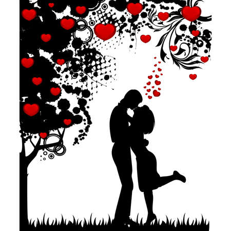 silhouette of lovers on a background with heart