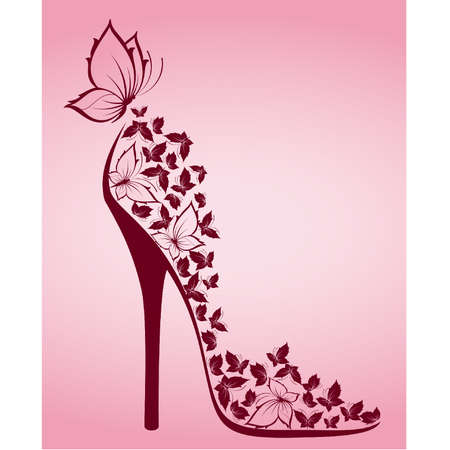Illustration pour High heel from beautiful butterflies - image libre de droit
