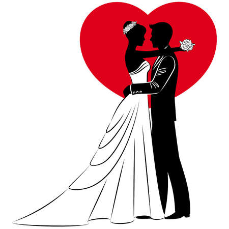 vector Illustration of beautiful bride and groom's silhouette