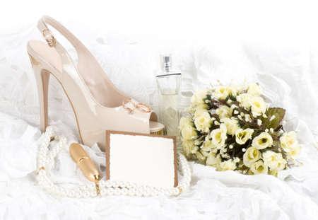 Foto de The beautiful bridal shoes, lace with banner add - Imagen libre de derechos
