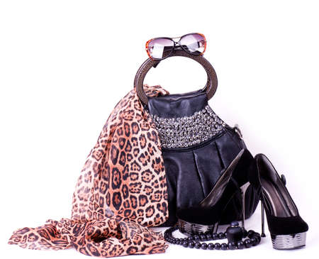 Photo for Fashionable accessories on white background  - Royalty Free Image