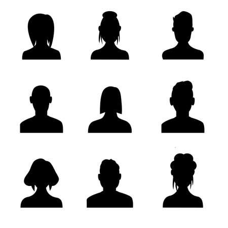Illustration pour Silhouette head, avatar face, person icon people. Male and female profile. Vector illustration set - image libre de droit