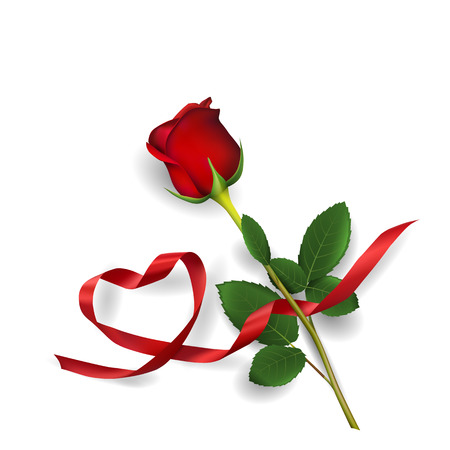 Foto de Red rose and heart made of red ribbon on white background. - Imagen libre de derechos