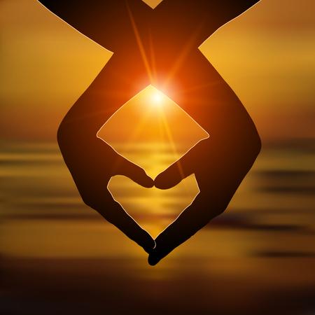 Illustration pour Loving couple makes a heart with hands on the beach at sunset. Love, romantic relationship concept. Vector illustration - image libre de droit