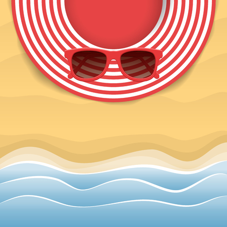 Summer striped hat and red sunglasses. Woman beach sunhat on sand. Top view. Summer concept. Vector illustration