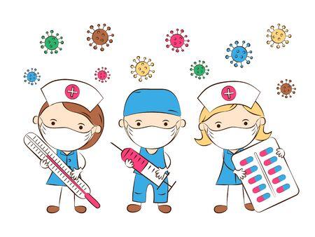 Foto für Medical staff, doctors, nurses. Doctor wearing protective medical mask on face. Healthcare, medicine. Cute flat cartoon style. Vector Illustration - Lizenzfreies Bild