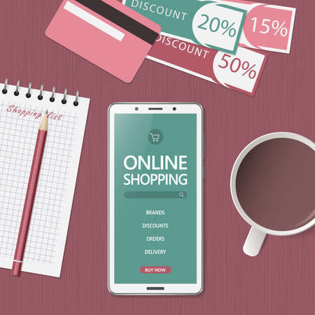 Illustration pour Online shopping concept. Online store website on phone screen. Workspace with smartphone, credit cards and discount coupons. Top view, flat lay. Vector illustration - image libre de droit