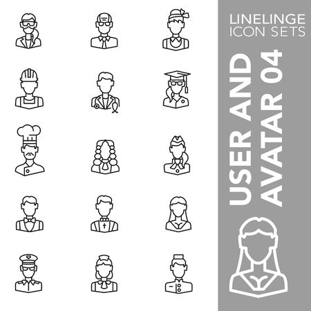Illustration pour High quality thin line icons of user and avatar. Linelinge are the best pictogram pack unique design for all dimensions and devices. Vector graphic, symbol and website content. - image libre de droit