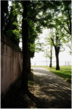 cemetery wall in sunny day, Burano island, Venice