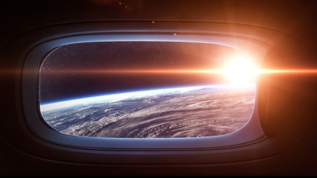 Earth planet in space ship window porthole. の写真素材