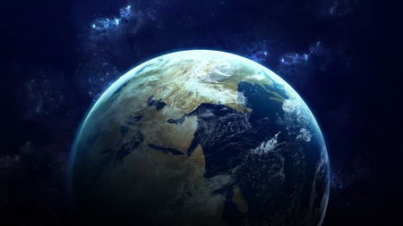 Photo pour High Resolution Planet Earth view. The World Globe from Space in a star field showing the terrain and clouds. Elements of this image are furnished by NASA - image libre de droit