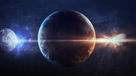 Photo for Universe scene with planets, stars and galaxies in outer space showing the beauty of space exploration.  - Royalty Free Image