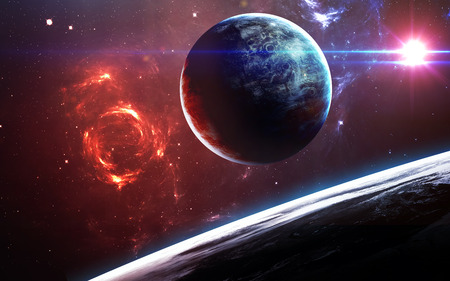 Universe scene with planets, stars and galaxies in outer space showing the beauty of space exploration.