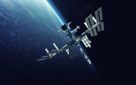 Photo pour International Space Station over the planet Earth. - image libre de droit
