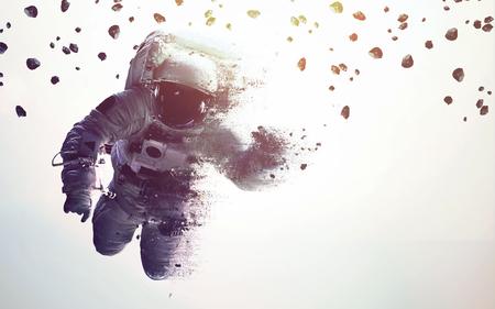 Foto de Astronaut in outer space modern minimalistic art. Dualtone, anaglyph. Elements of this image furnished by NASA - Imagen libre de derechos