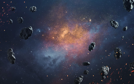 Photo for Abstract cosmic background with asteroids and glowing stars. Deep space image, science fiction fantasy in high resolution ideal for wallpaper and print. Elements of this image furnished by NASA - Royalty Free Image