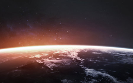 Foto de Awesome beautiful Earth planet in cold and warm light. - Imagen libre de derechos