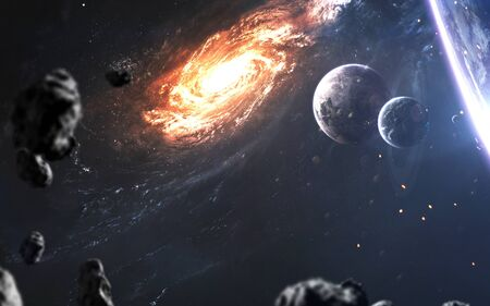 Photo pour Beautiful realistic planets againt galaxy in deep space. Science fiction art - image libre de droit