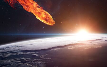 Meteor approaching Earth planet