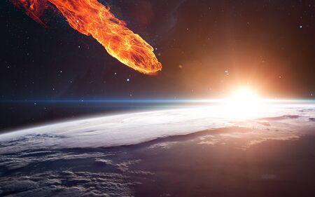 Foto de Meteor approaching Earth planet - Imagen libre de derechos