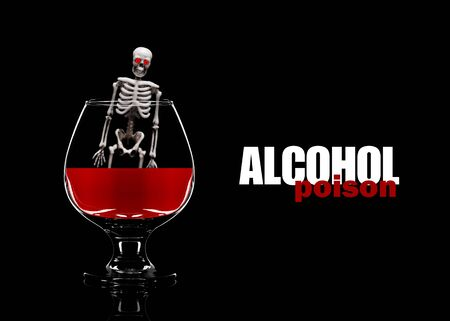 Photo pour Human skeleton in a glass with alcohol. The concept of death from drinking alcohol. - image libre de droit