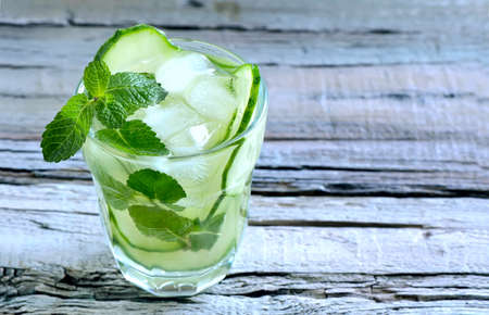 Detox cucumber and mint diet drink, healthy summer cooler