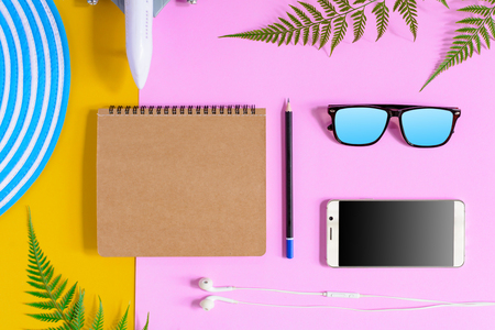 set object vacation relax time on colorful paper with travel and fashion style