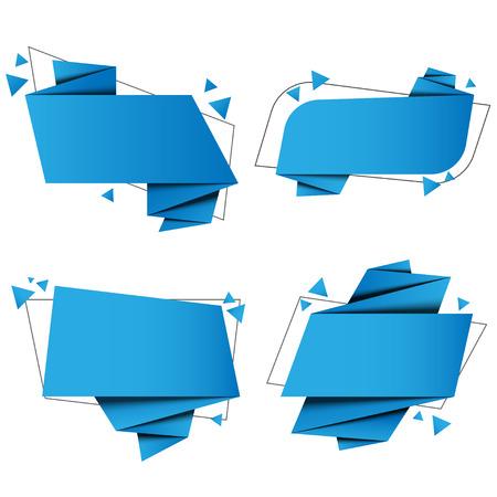 Ilustración de set banner origami paper with vector design - Imagen libre de derechos