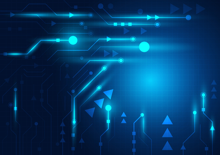Illustration for High tech technology geometric and blue background with digital data abstract - Royalty Free Image