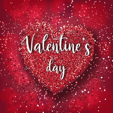 Illustration pour Valentine's day festival, love background and sweet hearts glittering, vector design - image libre de droit