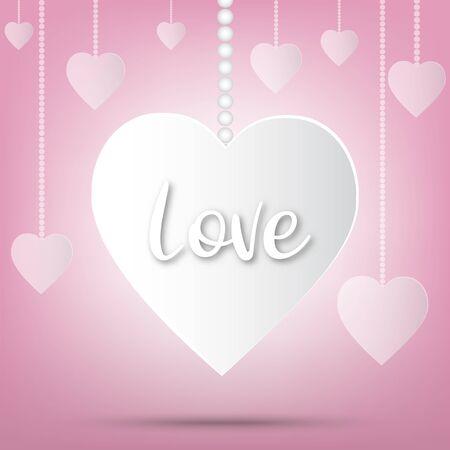 Illustration pour Paper valentine's day festival, love background and sweet hearts glittering, vector design - image libre de droit