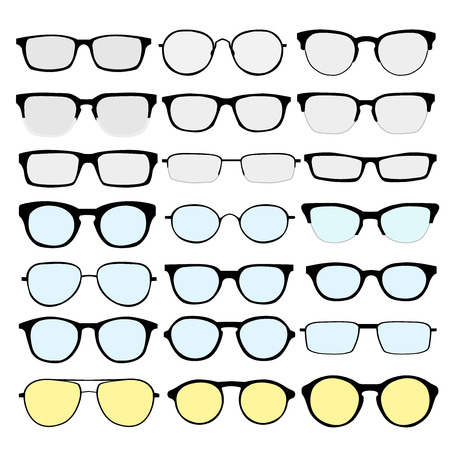 set of different glasses on white background. Retro, wayfarer, aviator, geek, hipster frames. Man and women eyeglasses and sunglasses silhouettes.