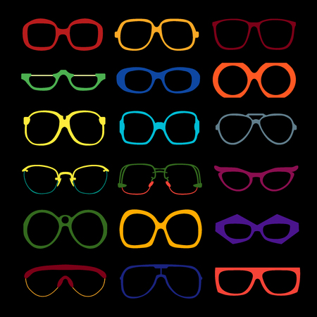 set of different colored glasses on black background. Retro, wayfarer, aviator, geek, hipster frames. Man and women eyeglasses and sunglasses silhouettes.