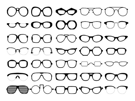 Illustration pour Vector set of different glasses on white background. Retro, wayfarer, aviator, geek, hipster frames. Man and women eyeglasses and sunglasses silhouettes. - image libre de droit