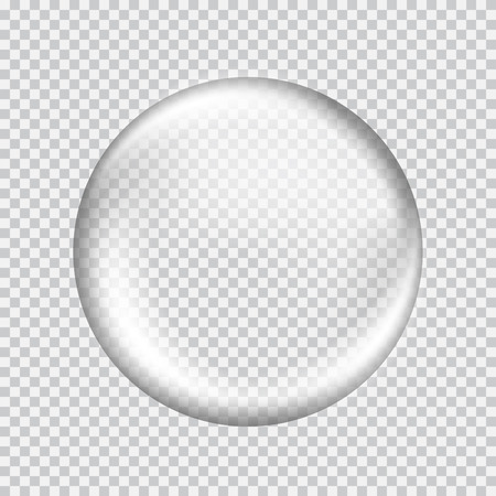 Illustration pour Big white transparent glass sphere with glares and highlights. White pearl. Vector illustration, contains transparencies, gradients and effects - image libre de droit