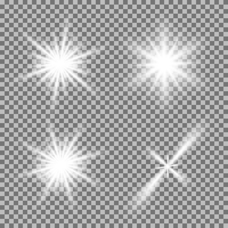 Ilustración de Vector set of glowing light bursts with sparkles on transparent background. Transparent gradient stars, lightning flare. Magic, bright, natural effects. Abstract texture for your design and business. - Imagen libre de derechos