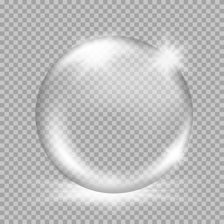 Illustration pour Empty snow globe. Big white transparent glass sphere with glares and, bursts, highlights. Vector illustration with gradients and effects. Winter background for your design and business - image libre de droit